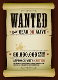 Wanted Vintage Poster On Parchment. Illustration of a vintage old wanted placard poster template on parchment scroll, with dead or alive inscription, cash reward Stock Photo