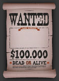 Wanted Vintage Poster On Parchment Stock Photo