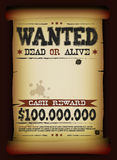Wanted Vintage Poster On Parchment. Illustration of a vintage old wanted placard poster template on parchment scroll, with dead or alive inscription, far west Royalty Free Stock Photography
