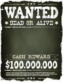 Wanted Vintage Western Poster On Chalkboard. Illustration of a vintage old wanted placard poster template, with dead or alive inscription, cash reward on Stock Photos