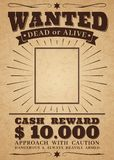 Wanted vintage western poster. Dead or alive crime outlaw. Wanted for reward vector retro banner stock illustration