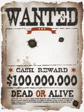 Wanted Vintage Western Poster. Illustration of a vintage old wanted placard poster template, with dead or alive inscription, cash reward like in far west and Royalty Free Stock Photo