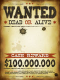 Wanted Vintage Western Poster. Illustration of a vintage old wanted placard poster template, with dead or alive inscription, cash reward like in far west and Royalty Free Stock Image