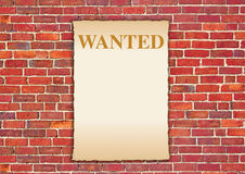 Wanted wall. A wanted notice posted on a brick wall Royalty Free Stock Images
