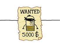 Wanted western criminal. Hand drawn cartoon characters - wanted western criminal Royalty Free Stock Photography