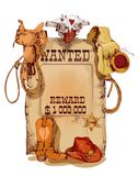 Wanted western vintage poster. Old fashion wild west wanted reward vintage poster with horse saddle revolver cowboy backpack sketch abstract vector illustration Royalty Free Stock Photography