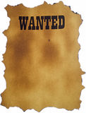 Wanted with white background. Wanted written on a burned piece of paper stock photos
