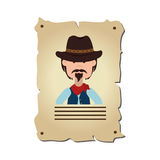 Wanted wild west label Stock Photos