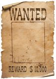 Wanted wild west poster on white background stock photos