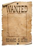 Wanted wild west poster on white background royalty free stock images