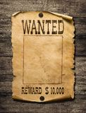 Wanted wild west poster on wood background royalty free stock photo