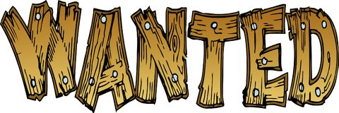 Wanted Wooden Lettering. Illustration of Wanted Wooden Lettering Stock Photography