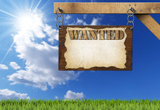 Wanted - Wooden Sign with Chain Stock Photos