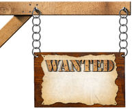 Wanted - Wooden Sign with Chain Royalty Free Stock Photo