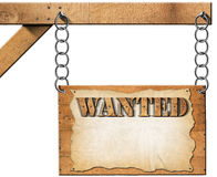 Wanted - Wooden Sign with Chain Stock Images
