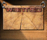Wanted - Wooden Signboard on Wooden Wall Stock Photo