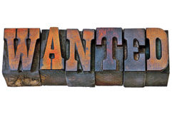Wanted word in western style type Stock Image