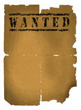 Wanted xxlarge. Old wanted paper with some damage on white background Stock Photo