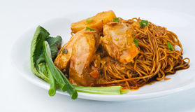 Wanton curry noodle, dried wanton noodle Royalty Free Stock Images