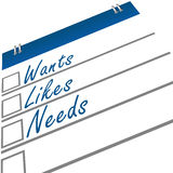 Wants Likes Needs. Graphical representation of wants, likes and needs stock illustration