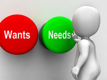 Wants Needs Buttons Shows Materialism Happy Stock Image