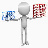 Wants versus needs. Many wants versus few needs, 3d man holding needs and wants on both hands, white background Stock Images