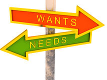 Wants vs needs royalty free illustration