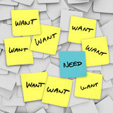 Wants Vs Needs - Sticky Notes Royalty Free Stock Photo