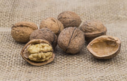 Wanuts. Image shows some walnuts on a jute bag Royalty Free Stock Photos