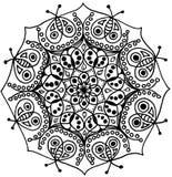 Wanzen-Zen Mandala-Schwarzweiss lokalisiert lizenzfreie stockfotografie