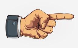 Wapen die richting richten Getrokken wijsvinger Retro stijl royalty-vrije illustratie