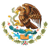 Wapenschild de vlag van Mexico Stock Foto's