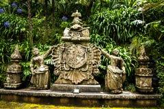 Wapenschild in een Mooie Tuin in Monte boven Funchal Madera Stock Foto's