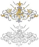 Wapenschild met cherubijn Royalty-vrije Stock Afbeeldingen