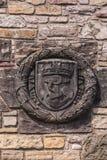 Wapenschild met maritieme symbolen bij Kasteel, Edinburgh, Scotlan royalty-vrije stock afbeeldingen