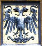 Wapenschild met twee-geleide adelaar Royalty-vrije Stock Afbeelding