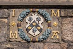 Wapenschild op John Knox House, Edinburgh, Schotland, het UK royalty-vrije stock foto's