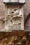 Wapenschild op muur in Binnenplaats van Palazzo Pubblico in Siena Italië stock afbeeldingen