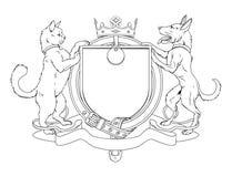 Wapenschild van het de huisdieren het heraldische schild van de kat en van de hond Royalty-vrije Stock Afbeeldingen