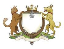 Wapenschild van het de huisdieren het heraldische schild van de kat en van de hond Stock Afbeelding