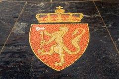 Wapenschild van Noorwegen, in de Hanseatic fontein wordt vertegenwoordigd die Stock Foto's