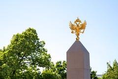 Wapenschild van Rusland met goud op de spitsachtergrond van blauwe hemel stock foto's