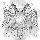Wapenschilden van het Russische Imperium Bekroonde dubbel-geleide adelaars Hand-drawn vector geïsoleerde illustratie Russisch nat royalty-vrije illustratie