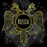 Wapenschilden van het Russische Imperium Gouden Bekroonde dubbel-geleide adelaars over het bord hand-drawn vectorillustratie vector illustratie