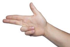 Wapenssymbool van handen op een witte achtergrond, exemplaarruimte wordt gemaakt die Stock Foto