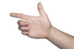 Wapenssymbool van handen op een witte achtergrond wordt gemaakt die Stock Foto's