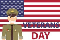 Wapenstilstandsdag, markeert een mens in militaire eenvormig met toekenning op de achtergrond van de V.S. stock illustratie
