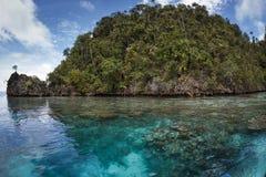 Wapień wyspa w lagunie, Raja ampat, Indonesi Obraz Royalty Free