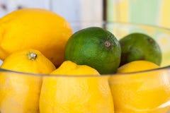 Wapna i cytryny owoc w szklanym pucharze zdjęcia royalty free
