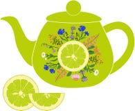 Wapna teapot z ziele i wapnem Zdjęcia Royalty Free